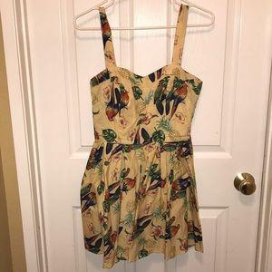 Hell Bunny Tropical Tiki Print Pinup Mini Dress
